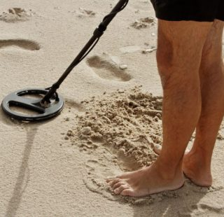 Beach hunting with a metal detector